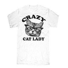 Crazy Cat Lady Tee White, 18€, now featured on Fab.