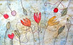Hand made silk paper, free machine embroidery and watercolour.