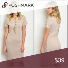 🆕Taupe Dress This super cute midi dress features, lace up front and short sleeves. Great for office, school and other occasions. 68% Rayon, 27% Nylon, 5% Spandex (This closet does not trade) Boutique Dresses Midi
