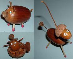 Billedresultat for acorn animals Gold Christmas Tree, Natural Christmas, Simple Christmas, Christmas Diy, Christmas Ornaments, Minimal Christmas, Acorn Crafts, Pine Cone Crafts, Pumpkin Crafts