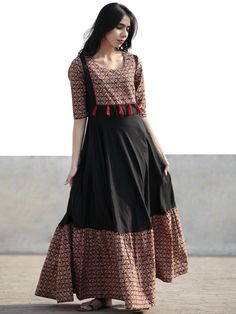Black Beige Red Orange Hand Blocked Long Cotton And Rayon Dress With Tassel Details - Pakistani Dresses Casual, Indian Gowns Dresses, Indian Fashion Dresses, Pakistani Dress Design, Indian Designer Outfits, Designer Dresses, Cotton Long Dress, Long Gown Dress, Kalamkari Dresses