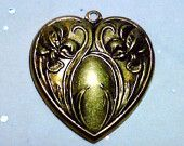 Vintage Iris Flowers on a Heart Brass Stamp Focal Finding for Jewelry Making by AAAJEWELRYSTORE on Etsy, $5.99 USD
