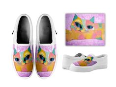 Printed a cat picture on a pair of slip-on shoes by michiya nakao Cat Products, I Love Cats, My Works, Slip On Shoes, Pairs, Tote Bag, Printed, Sneakers, Slip On Tennis Shoes