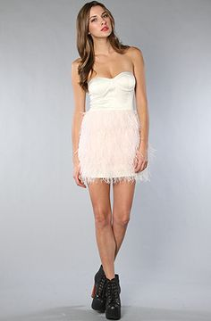 The Feather Skirt Mini Dress in Ivory and Pink by Blaque Label at karmaloop.com