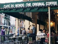 Cafe Du Monde in New Orleans, LA. Love this place, love beignets, even love that I saw the biggest rat in my life (four-legged) there as I sat eating that beignet and drinking their world famous coffee.  :-)