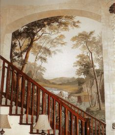 Country primative colonial murals stencils on for Colonial mural wallpaper