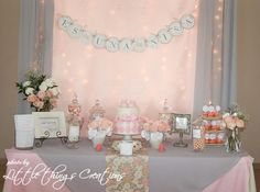 Pink and Gray Baby Shower love this if our next one is a girl