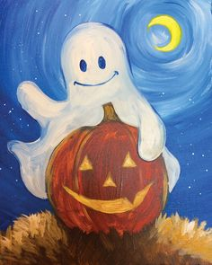 Excited for Halloween? So are these two! Paint Boo Buddies at a Pinot's Palette studio near you! #Halloween #pumpkin #ghost #painting