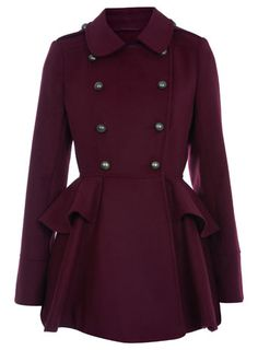 oxblood double breasted coat for winter