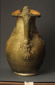 Roman  Lead-glazed oinochoe with relief decoration, 1st century B.C. – 1st century A.D.  Terracotta