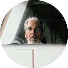 Henry Lohmeyer - self-portrait in edge of mirror against wall