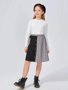 Girls Buttoned Front Lace Detail Plaid Panel Skirt – Kidenhouse Leopard Print Skirt, Floral Print Skirt, Pleated Skirt, Midi Skirt, High Waisted Skirt, Girl Skirts, Front Lace, Printed Skirts, Lace Detail