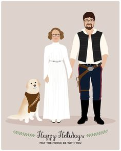 Personalized holiday gifts: Custom Star Wars family portrait from Henry James Paper Goods! Love!