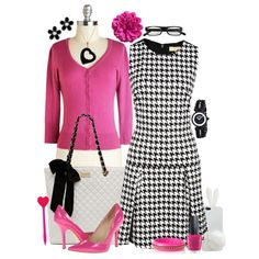 Baby Girl in Black & White & Pink All Over by leighanned on Polyvore inspired by Penelope Garcia