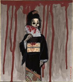 Hone-onna- Japanese folklore: a living, moving, female skeleton. She lures men to her cavern or to their bed to sleep with them. They either find out later or before that she is a skeleton when a light shines on her. She usually holds them and sucks their life-force until they become a skeleton them selves
