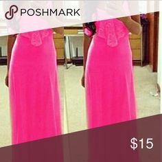Hot pink maxi dress Hot pink maxi spaghetti strap dress Dresses Maxi