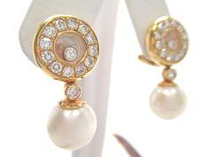 1.10CT Fine Chopard Happy Diamond & Pearl Dangle Halo Earrings 18k Yellow Gold #Chopard #DropDangle