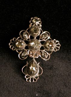 Silver cross set with 10 rose diamonds, Flemish c.1720.