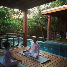 Feeling zen at our beautiful Tree Houses at The Amilla Beach Villa Residences for a relaxing yoga meditation session