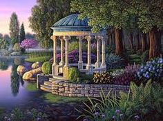 """""""The Shelter"""" by Kim Norlien is a cropped image of """"Secret Garden"""" featuring a stone gazebo in the midst of a tranquil, European-style garden."""