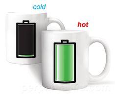 heat sensitive battery mug