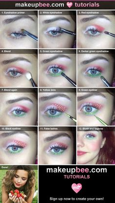 Step-By-Step Tutorial for Strawberry makeup I did black spots instead of yellow. Other than that, it's a pretty straight forward tutorial and super easy. Strawberry Halloween, Strawberry Costume, Strawberry Shortcake Party, Makeup Art, Eye Makeup, Halloween Makeup, Halloween Costumes, Fruit Costumes, Summer Makeup Looks