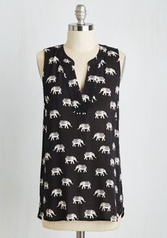 Once in a Wild Top. Every so often a garment effortlessly complements your carefree style, and you can trust this black printed top to do just that! #black #modcloth