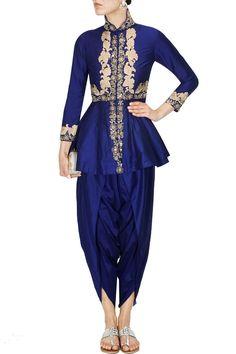 Blue floral dabka and pearl work peplum cape and dhoti pants set - Sonali Gupta
