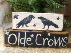 Primitive Country Two Black Crows Olde Crows Shelf Sitter Wood Blocks | eBay
