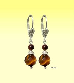 Tiger Eye Brown Round, Swarovski,  925 Silver Dangle Earrings, Pendants Charm - Choose Style - Handmade - Natural Stones - FREE SHIPPING de ArtGemStones en Etsy