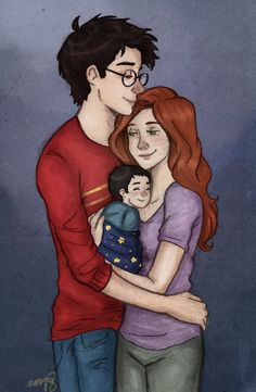 James, Lily, and baby Harry potter by incredibru.deviantart.com