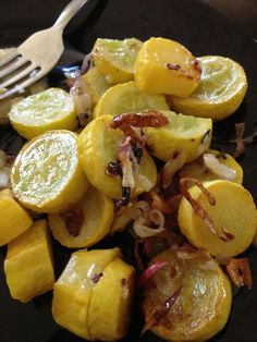Roasted Summer Squash with red onion. I thought that was bacon. I will add bacon.