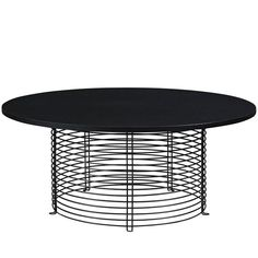 View this item and discover similar for sale at - Verner Panton model round coffee table produced by Fritz Hansen. Round Black Coffee Table, Table Furniture, Outdoor Furniture, Outdoor Tables, Outdoor Decor, Center Table, Cocktail Tables, Pantone, Wood