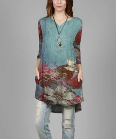 Loving this Teal & Rust Floral Hi-Low Tunic on #zulily! #zulilyfinds