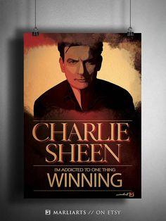 Charlie Sheen Kunstwerk handgemacht druckbare Kunst