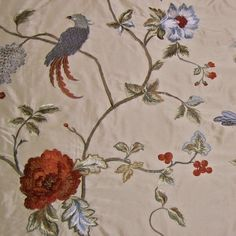 Elaborate Exquisitely Embroidered Multi Fl Taffeta Drapery Fabric With Birds Crewel Embroidery