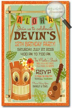 Retro Hand-made Hawaiian Tiki Luau Party Invitations. Professionally printed on beautiful metallic paper and artfully hand-mounted on gorgeous 120 lb. metallic orange card stock, these awesome Tiki Luau invitations are the perfect design for your upcoming Luau celebration!
