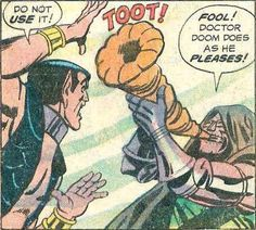 Namor and Doctor Doom in an out of context comic panel