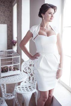 Pleated tulip skirt short wedding dress #wedding #dress www.loveitsomuch.com