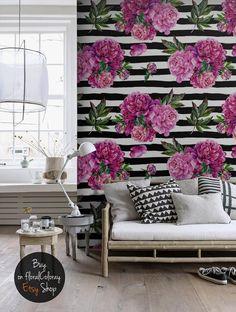Watercolor peony wallpaper || Self adhesive wall mural || Temporary wall sticker || Reusable wallpaper || Peel and stick!  #24