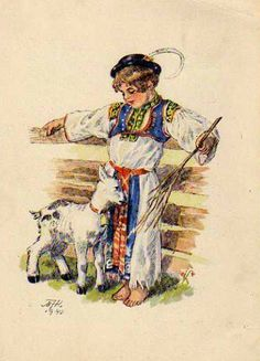 The Shepherd, Old Postcards, Print Pictures, Childhood Memories, Illustrators, European Countries, Fantasy, Drawing, Czech Republic