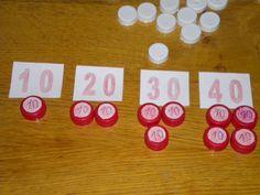 Usar tapones para cálculo mental. Diferentes combinaciones para llegar al mismo número .