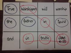 Flame: Creative Children's Ministry: 3 in a row memory verse game. Split page up as shown. Write the memory verse in the squares, using each square. Cover all words with post its. 2 teams take turns pointing at a square and saying the word(s) in it. If correct, uncover and circle with team color. First team with 3 in a row wins.