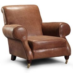 Milano Brown Cerate Leather Club Chair - Brass front legs Brown Leather Armchair, Grey Armchair, Leather Club Chairs, Leather Sofas, Buy Living Room Furniture, Office Furniture, Polywood Adirondack Chairs, Fabric Armchairs, Ottomans