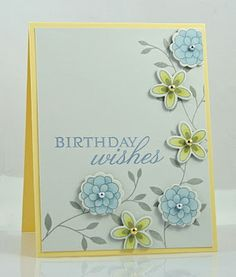 Pretty card - colors - PTI Turning a New Leaf and Flower Fusion #6 and Flower Fusion #3 - bjl
