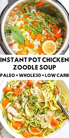 A healthy and delicious meal made in no time at all thanks to the Instant Pot. This chicken soup is so comforting and nourishing. Recipes paleo Instant Pot Chicken Zoodle Soup - The Bettered Blondie Paleo Recipes, Soup Recipes, Whole Food Recipes, Paleo Meals, Whole 30 Chicken Recipes, Recipies, Healthy Cooking, Healthy Eating, Cooking Food
