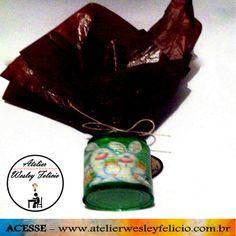 Embalagem Páscoa - Atelier Wesley Felício #Artesanato #Crafts #Reciclagem #Latinha #Crepom #Páscoa #Coelho #Lembrancinha