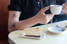 Cheesecake and coffee at Bob's Bakery in Paris' 18th. Bon appetit!