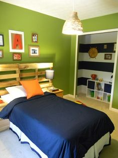 Jonas's room.  Lime walls, navy striped curtains, navy quilt, white wall shelves navy reading chair.  Or, navy walls with pops of lime if they don't like green walls.  Great idea for a boys room