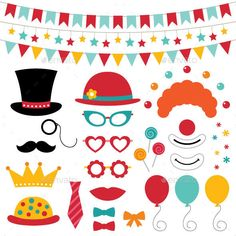 Buy Circus Photo Booth Props and Decoration by lattesmile on GraphicRiver. Circus Vector Photo Booth Props and Decoration. Vector EPS file and high resolution JPEG included. Circus Carnival Party, Carnival Games, Circus Theme, Carnival Supplies, Foto Props, Photo Booth Props, Circo Vintage, Christmas Photo Booth, Bible School Crafts